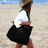 Black beach bag medium Ibiza style