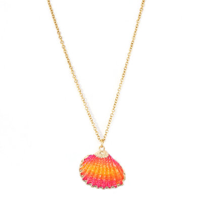 Necklace shell pink orange