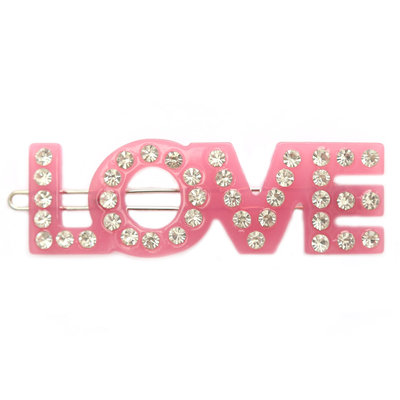 Hair clip love pink strass