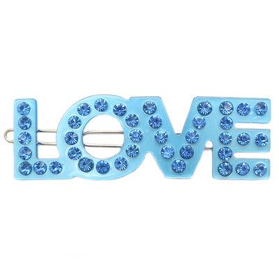 Hair clip Love blue strass
