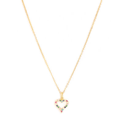 Necklace Heart strass gold