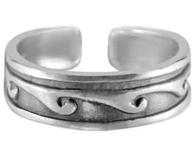 Midi pink ring Waves (real silver)