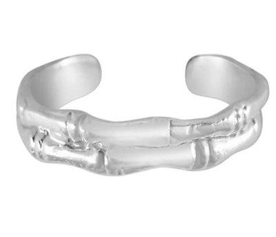 Midi pink ring Bamboo (real silver)