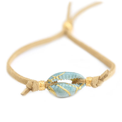 Bracelet ocean shell suede