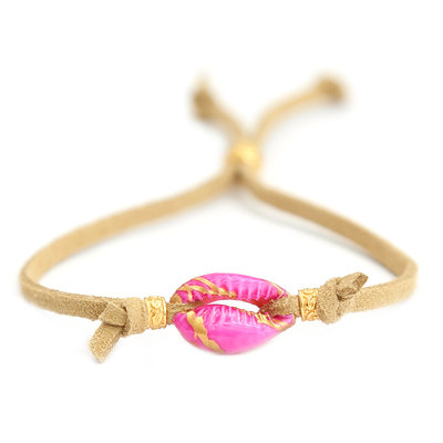 Bracelet pink shell suede