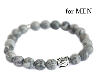 Buddha bracelet Grey gemstone for men