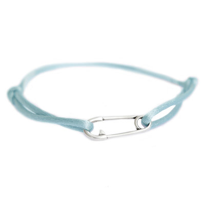 Safety pin bracelet silver blue