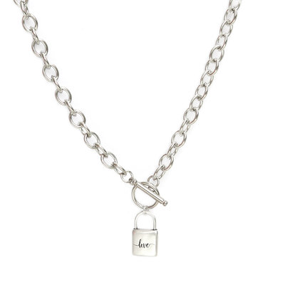Necklace chain lock silver