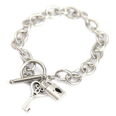 Bracelet lock and key silver