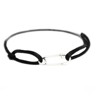 Safety pin bracelet silver black