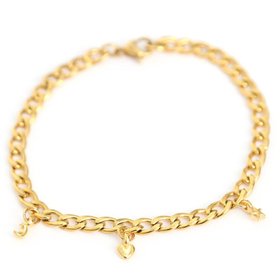 Moon heart star bracelet gold