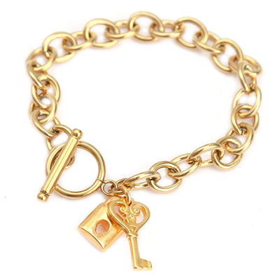 Bracelet lock and key gold
