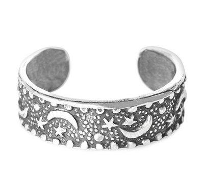 Midi pink ring Moon (real silver)