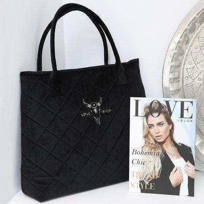 Black velvet shoulder bag medium