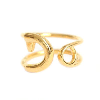 Ring safety pin gold