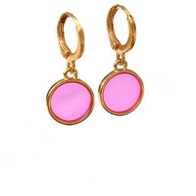 Earrings glass pink