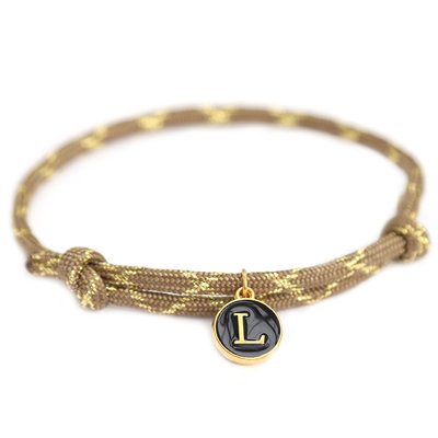 Bracelet brown gold initial