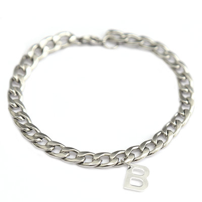 Bracelet chain initial silver
