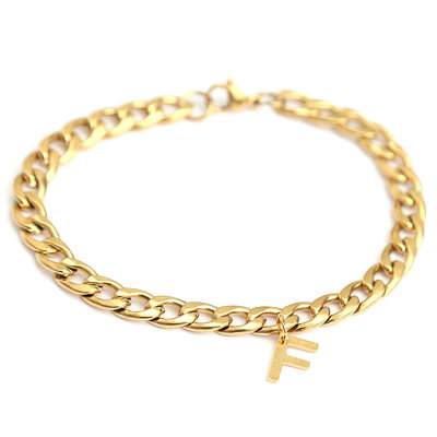 Bracelet chain initial gold