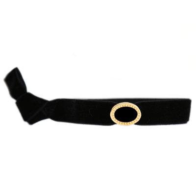 Velvet bracelet charm black gold