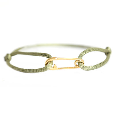 Safety pin bracelet gold olive