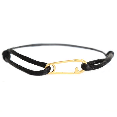 Safety pin bracelet black gold