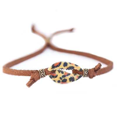 Shell bracelet leopard brown
