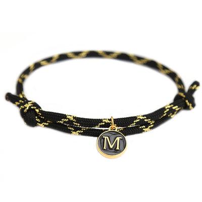 Bracelet black gold initial