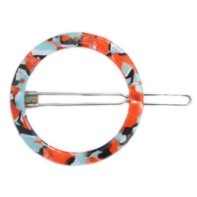 Hair clip round blue red