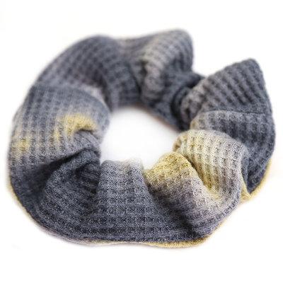 Scrunchie waffle tie dye grey yellow
