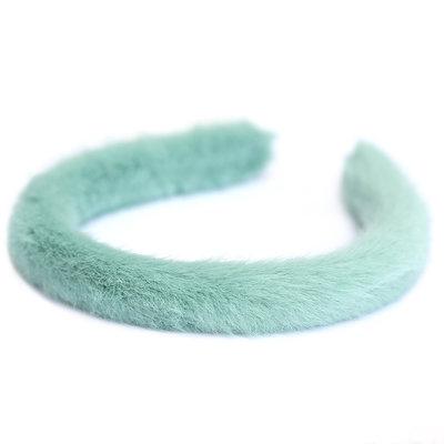 Hair band faux fur mint