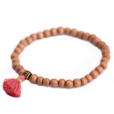 Bracelet wood coral fringe