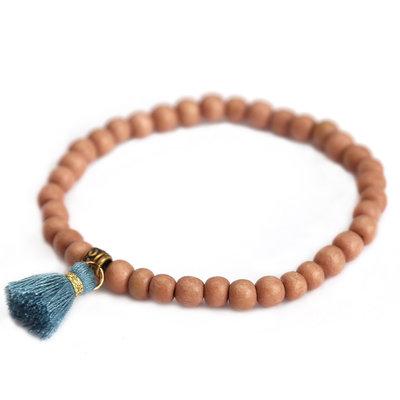 Bracelet wood blue fringe