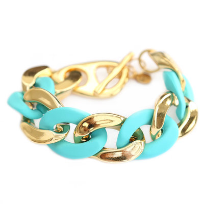 Bracelet large chain gold turquoise