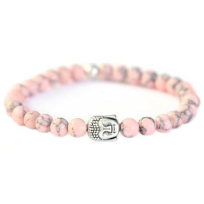 Buddha bracelet soft pink stone