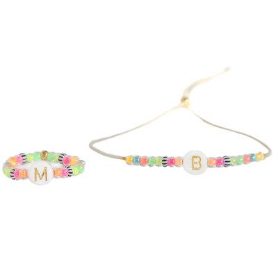 SET - Initial bracelet & initial ring Ibiza summer