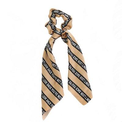 Scrunchie scarf silk look beige