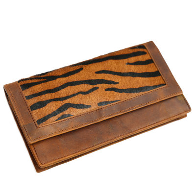 Leather fur purse dark zebra