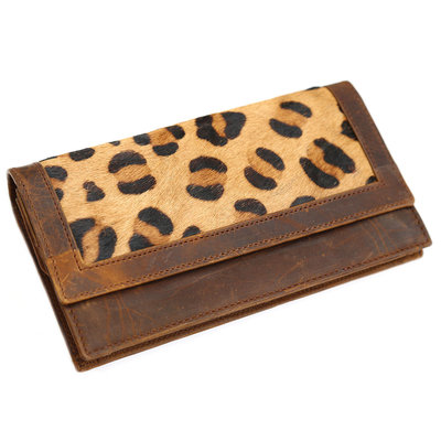 Leather fur purse leopard