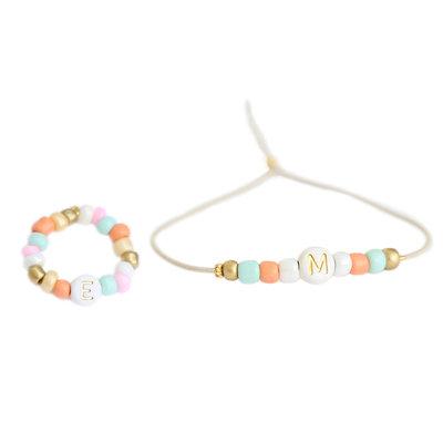 SET - Initial bracelet & initial ring summer
