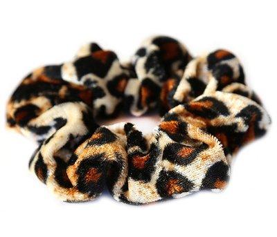 Velvet scrunchie leopard blonde