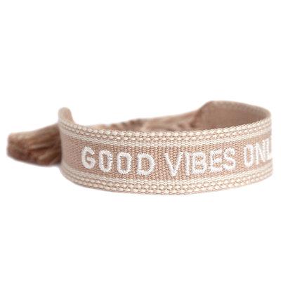 Woven bracelet good vibes only sand