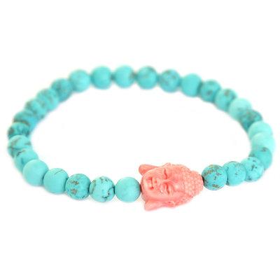 Buddha bracelet turquoise coral