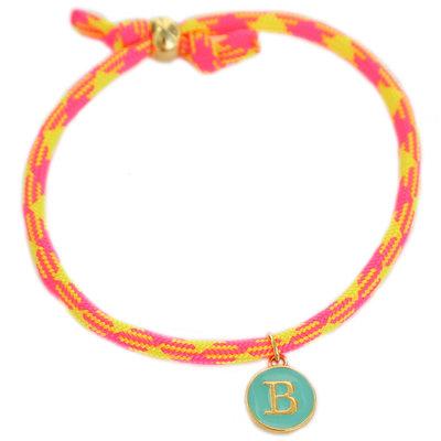 Initial bracelet neon pink yellow