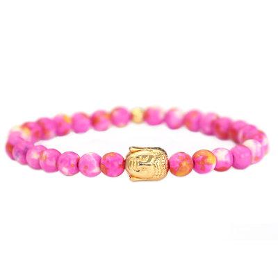 Buddha bracelet pink gold stone