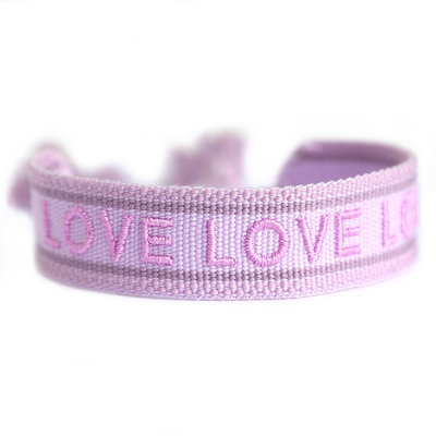Woven bracelet lilac LOVE