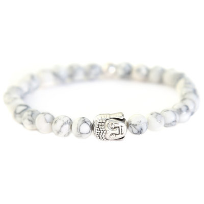 Buddha bracelet arctic white stone