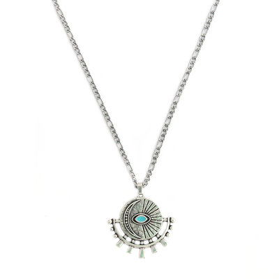 Necklace silver amulet turquoise eye