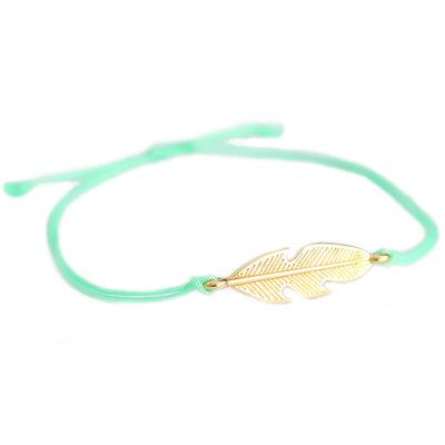 Bracelet feather mint green