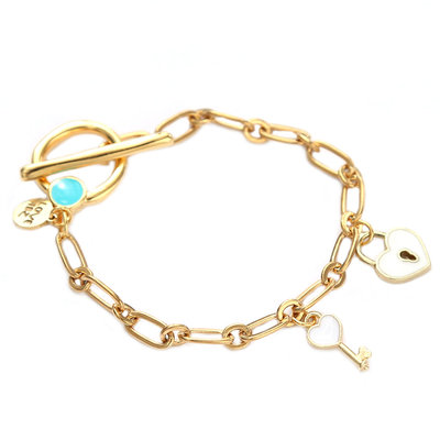 Bracelet key to your heart white gold